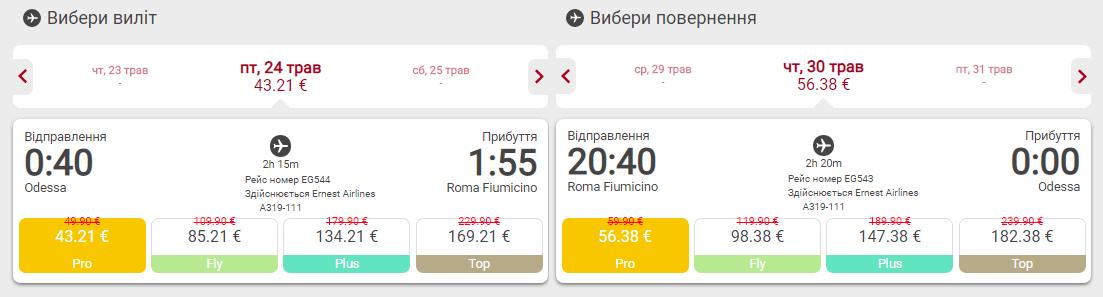 авиабилеты Одесса Рим