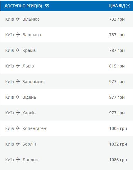 акционные билеты МАУ из Киева