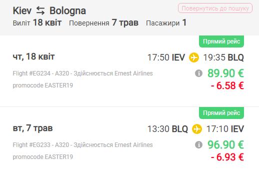 перелет Киев-Болонья