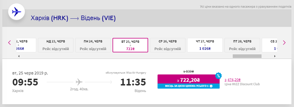 авиабилеты Харьков Вена